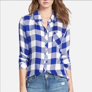 Rails Blue and White Plaid Button Down Shirt